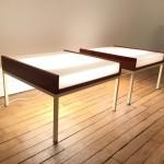 Rare paire de tables basses éclairantes de Louis Baillon