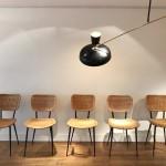 Ensemble de 5 chaises en rotin édition Rougier