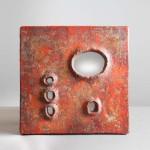 Rare miroir carré de Juliette Derel