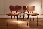Série de 4 chaises en rotin de Janine Abraham, Ed. Rougier