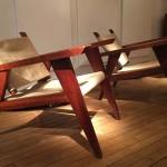 Paire de fauteuils en acajou massif et toile de jute