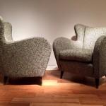 Paire de fauteuils italiens 1950, tissu Maison Lelièvre