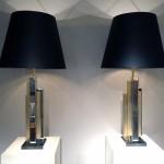 Paire de lampes 1970 en métal doré et chromé de Demachy