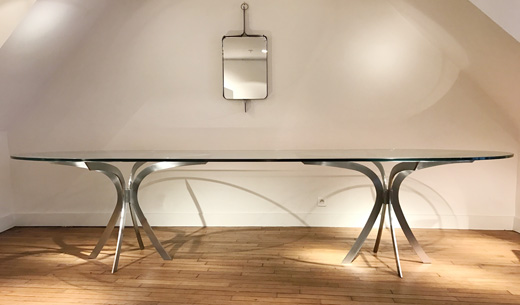very large oval glass table by xavier fal - Grande Table Ovale