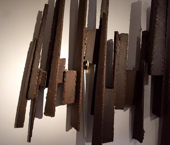 sculpture murale en acier de michel pinel. Black Bedroom Furniture Sets. Home Design Ideas